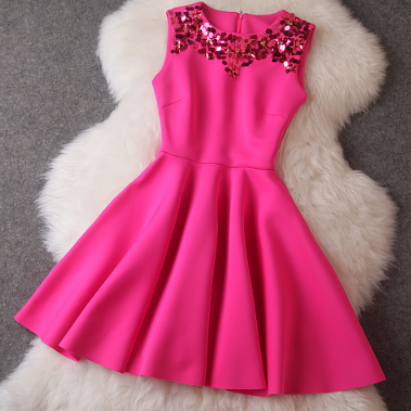 Handmade Sequins Slim Was Thin Big Swing Dress Sleeveless Vest Bottoming--Rose