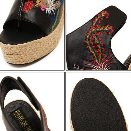 Floral Embroidered Peep-toe Braided..