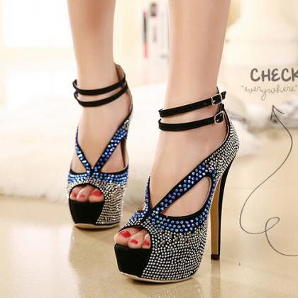 Luxury Rhinestone Design Black Peep..