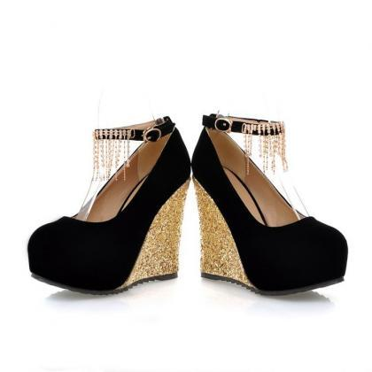 Black Diamante Design Fashion Wedge..