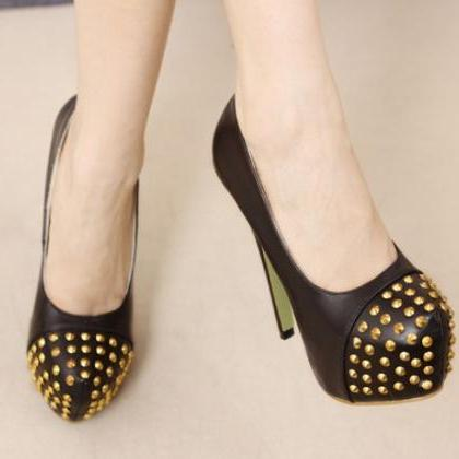 Black Studded High Heels Fashion Pu..