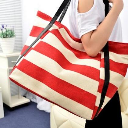 Chic Red And White Stripes Nautical..