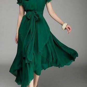 Deep Neck Line Flair Skirt Emerald ..