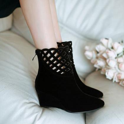 Martin boots fashion pointed wedges..