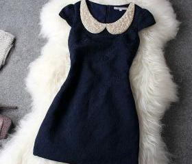 Adorable Doll Collar Pearl Rivet Dress In Deep Blue