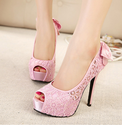 Sweet Candy Colors Sexy Stiletto High-Heeled Sandals Fish Head Bow Shoes--Pink