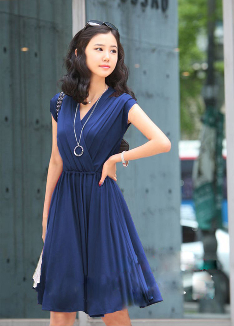 blue wrap dress - Dress Yp