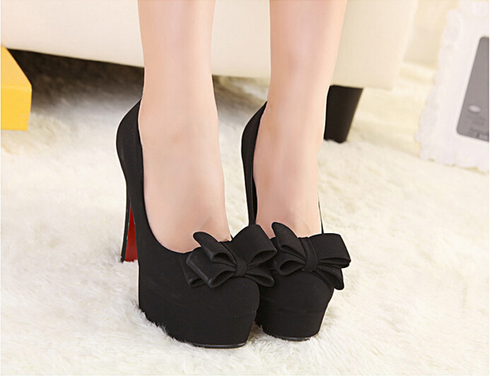 Black Bow Knot Design High Heel Pumps