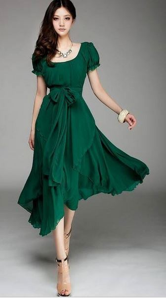 Deep Neck Line Flair Skirt Emerald Green Long Dress