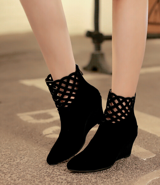Martin boots fashion pointed wedges hollow out short boots