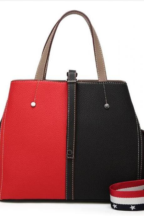 PU Leather Two-Tone Tote Bag Handbag with Shoulder Strap