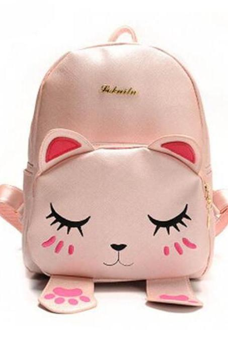 Cute Cat Backpack School Women Pu Leather Backpacks for Teenage Girls Funny Cats Ears Canvas Shoulder Bags Female Mochila