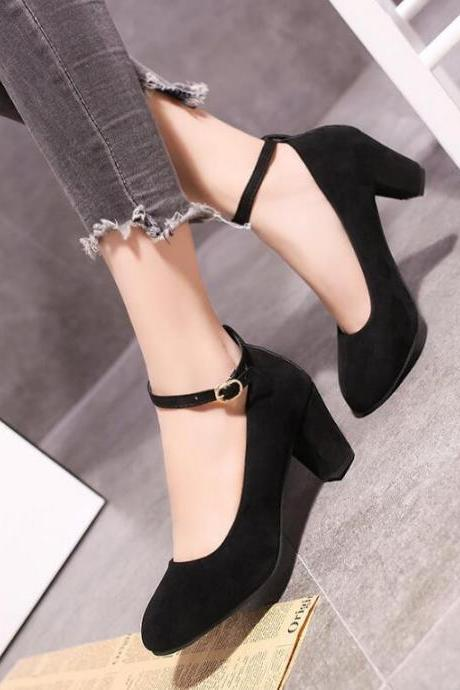 Women's suede high heels thick heel with professional shoes