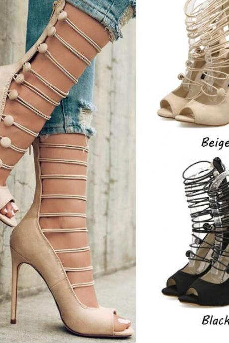 Sexy Black Cross With High Heels Hollow fish mouth high heel ladies sandals