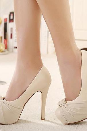 Classy Bow Design apricot High Heel Shoes