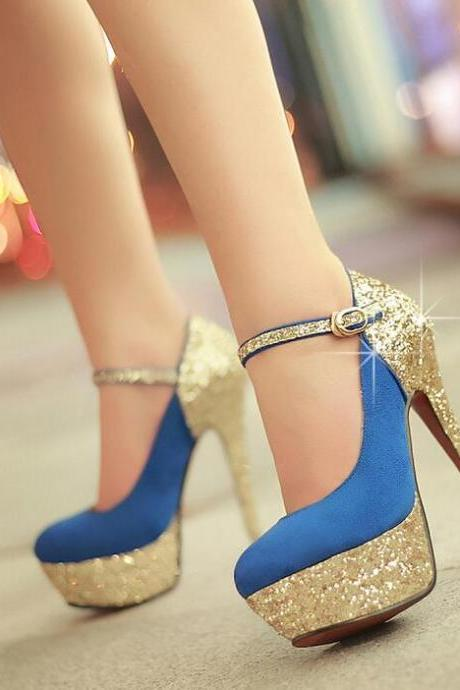 Sexy gold sequins high heels-blue