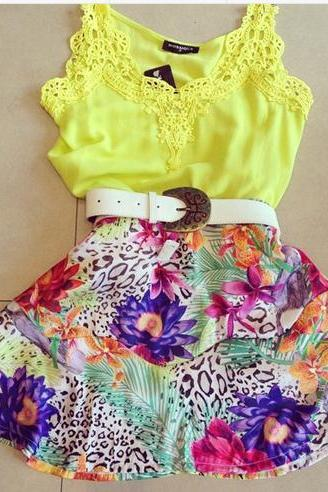 The New Sexy Lace Suspenders Yellow Flower Print Dress