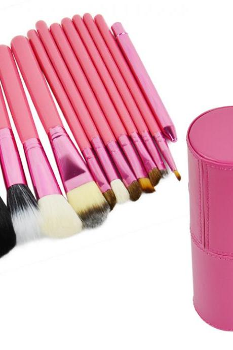 Professional 12Pcs Cosmetic Makeup Brush Set Make-Up Tool With Leather Cup Holder 4Colors