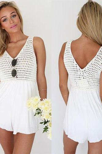 V Neck Mini Dress White Bandage Party Dresses