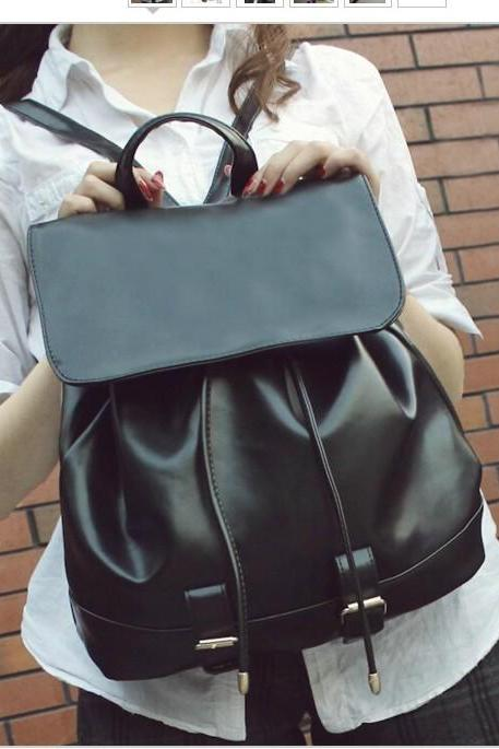 Cute Black PU Leather Backpack