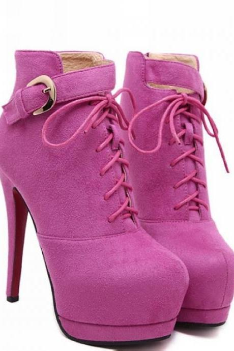 Lace Up Rose Red High Heels Fashion Boots