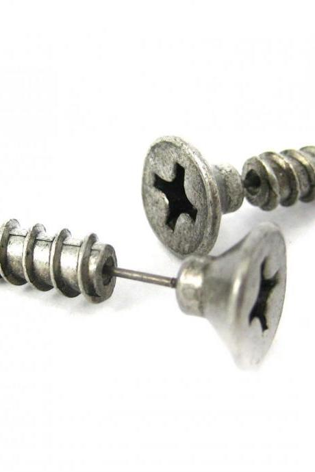 3D Fake Gauge Realistic Nuts And Bolts Screw Stud Earrings In Silver