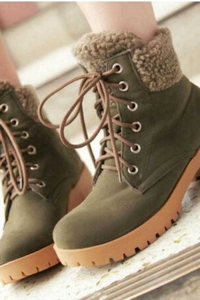 Lace Up Chunky Heel Winter Boots