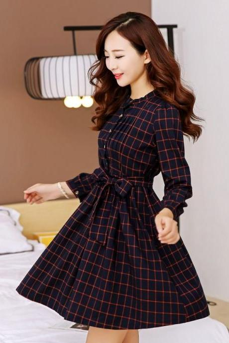 Vintage Style Long Sleeve Plaid Dress