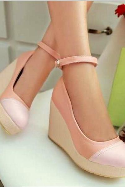 Cute Ankle Strap Pastel Wedge Shoes