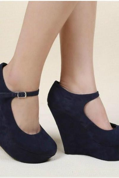 Stylish Wedge Shoes In Blue And Beige