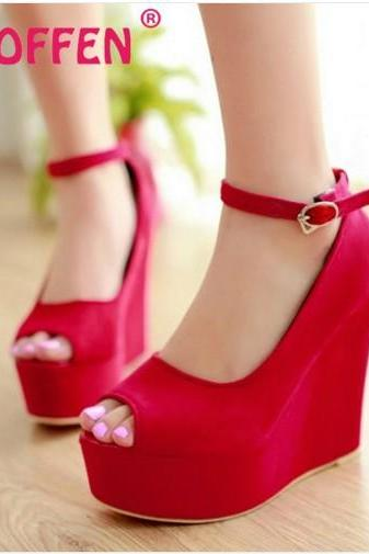 Peep Toe Wedge Shoes