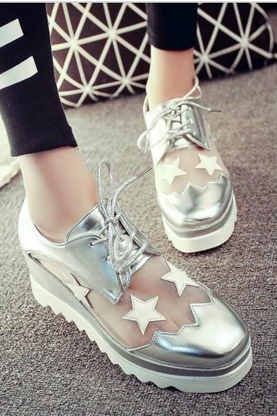 Leather Lace Up Platform Wedge Shoes