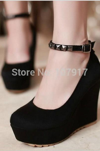 Rivet Design Platform Wedge Shoes