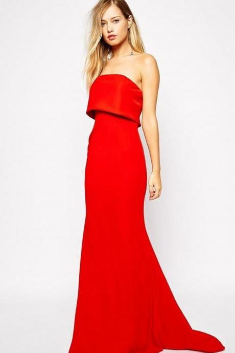 Red Off Shoulder Long Evening Dress