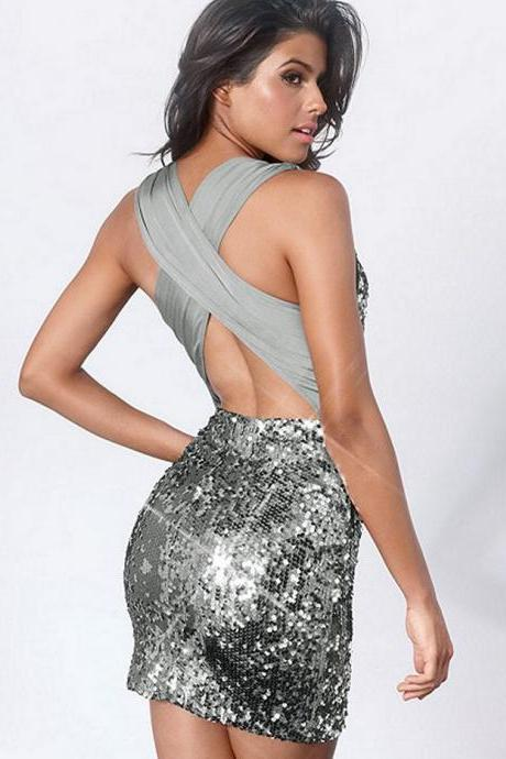 Silver Cross Back Party Dress