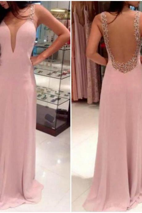 Beautiful Pink Low Back Design Long Dress