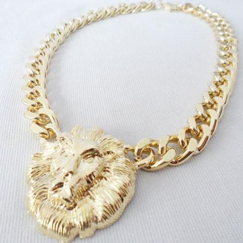 Free Shipping Golden Lion Head Fashion Necklace