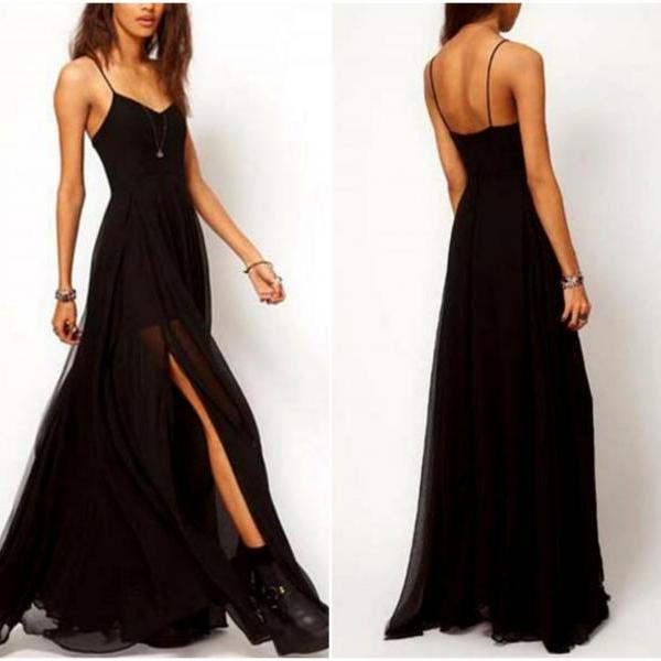 Spaghetti Strap Black Side Slit Maxi Dress