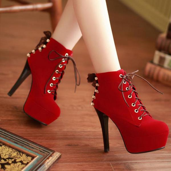 Red Suede High Heels Lace Up Ankle Boots