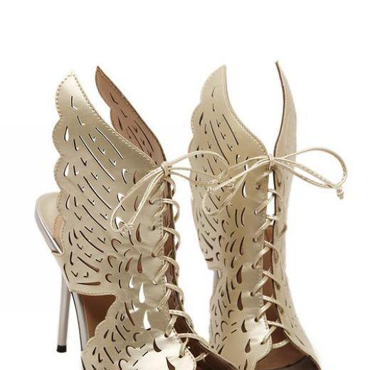 Sexy Lace Up Angel Wings High Heels Shoes In Light Gold