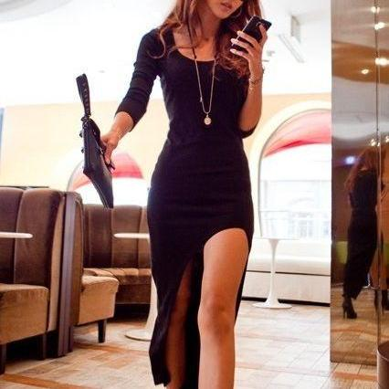 Sexy Black Asymmetrical Hem Long Sleeve Dress