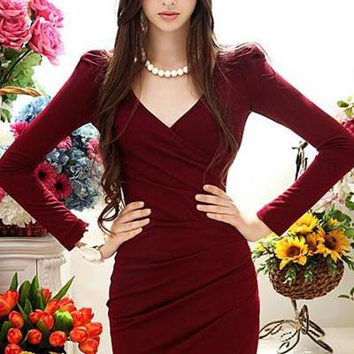 Elegant V Neck Long Sleeve Red Dress