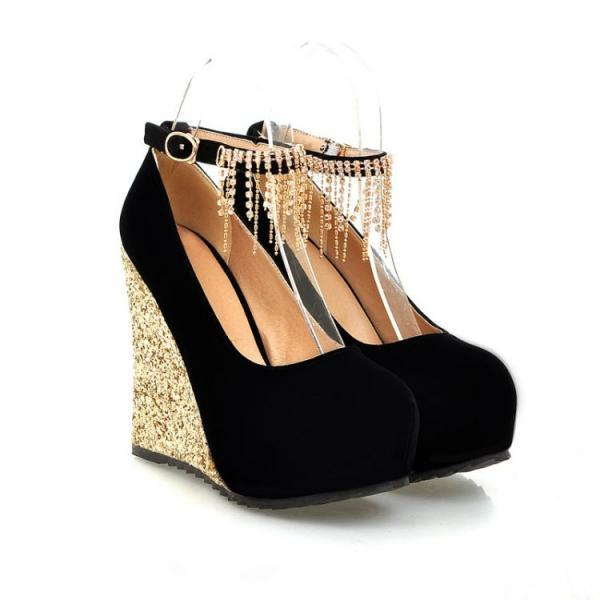 Black Diamante Design Fashion Wedge Shoes