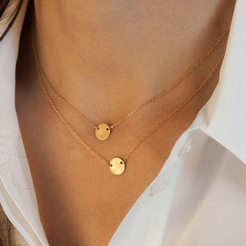 Gold Disk Double Layered Chain Necklace, Jewelry