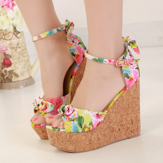 Women Colourful Floral Wedge Sandals with Ankle Straps Adorned with Bowknot