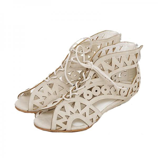 Gorgeous Aztec Sandals In White,Brown And Black