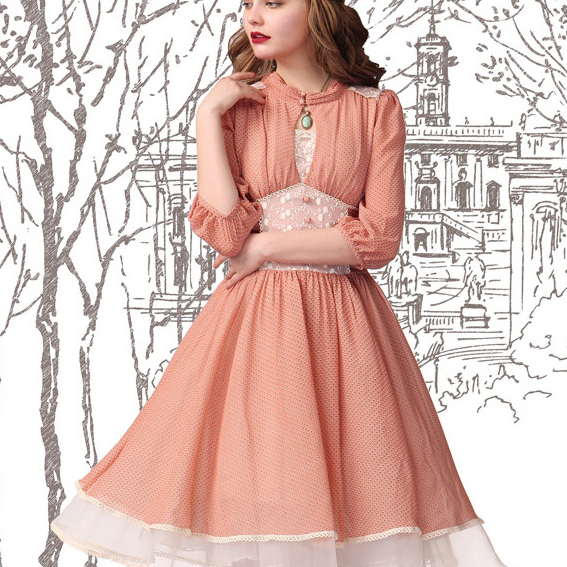 Palace restoring ancient ways of bud silk chiffon wave point long-sleeved dress