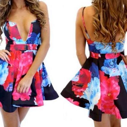 Elegant Floral Strap Bandeau Sleeveless Open Back Slim Fit Prom Party Skater Women's Fashion Dress