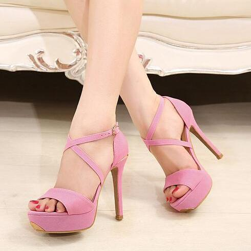Sexy cross belt fish mouth high-heeled sandals-pink