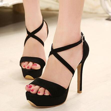Criss-Cross Ankle Strap High Heel Sandals